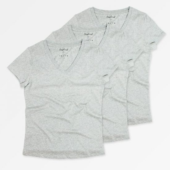 Gri V Yaka Basic T-Shirt